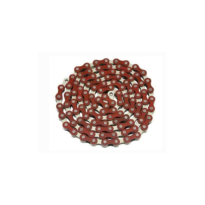 YBN S410 chain 1/3s BMX/Fixie red/silver 116 links